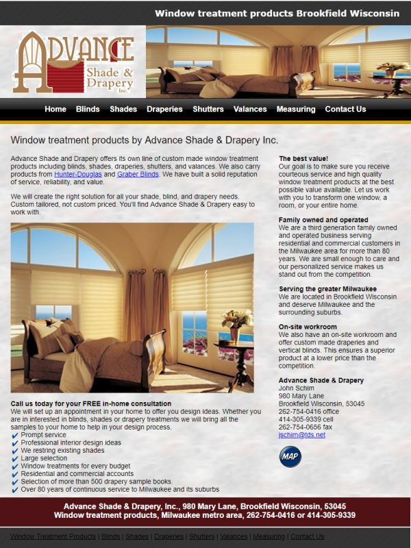 Window treatment products Brookfield Wisconsin