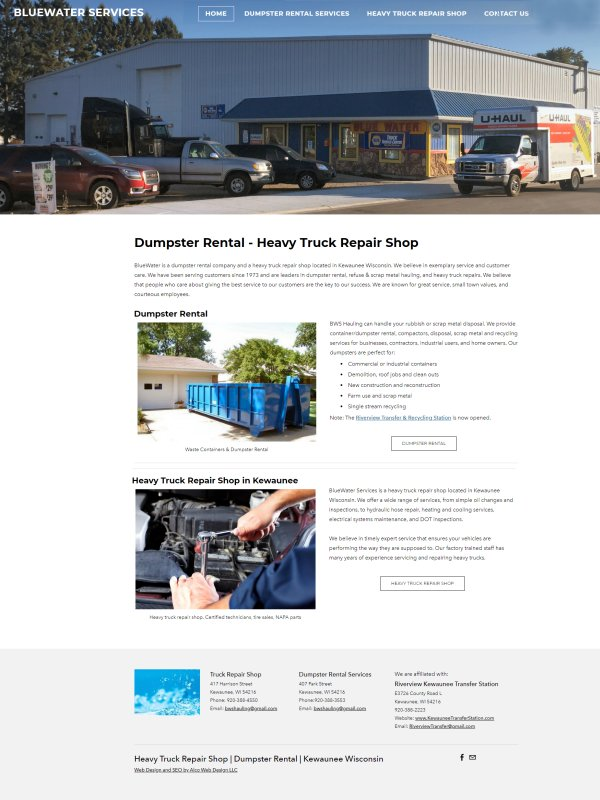 BlueWater Services - Dumpster Rental - Heavy Truck Repair Shop - Kewaunee WI