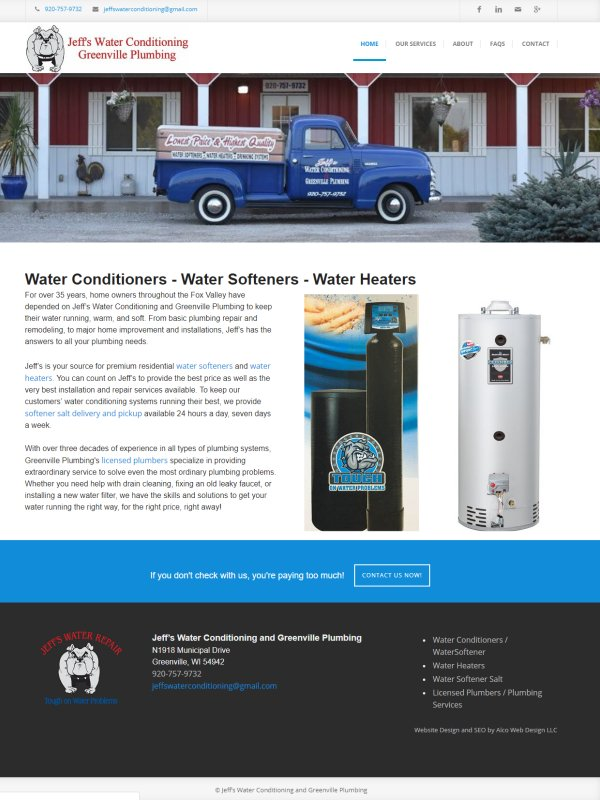 Water Conditioners | Water Softeners | Jeffs Water Conditioning Greenville WI